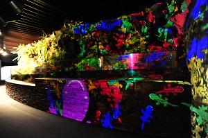 「京の川ゾーン」の3Dプロジェクションマッピング<br>