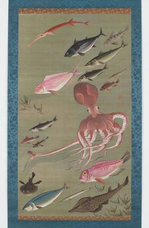 さまざまな水生生物が描かれた「諸魚図」