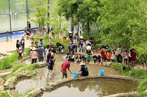 「京の里山」エリアで稲作体験などを通して自然の中で遊びながら里山とのつながりを学びます