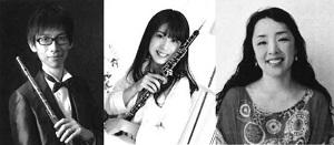 コンサート演奏者である同志社小学校音楽科教諭の今井亨(左)、山口裕加(中)、あかしなおこ(右)