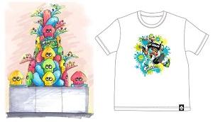 オオサンショウウオのぬいぐるみとイカのぬいぐるみで制作されたSuizokukaanツリーtとオリジナルの描き起こしアートがプリントされた限定Tシャツ